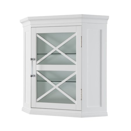 Elegant Home Fashions Blue Ridge Corner Wall Cabinet In White