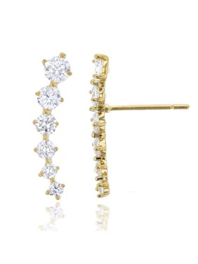 b827c2945 Product Image 14K Yellow Gold Graduated Round Cut Ear Crawler CZ Stud  Earring
