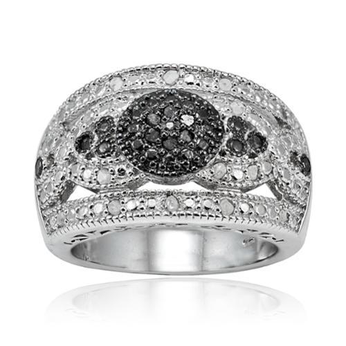 DB Designs Sterling Silver 1/4ct TDW Wide Dome Diamond Fashion Ring Black Diamond Size 5