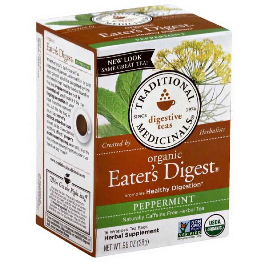Traditional Medicinals Organic Eater's Digest Peppermint Tea, 0.99 oz, (Pack of 6)