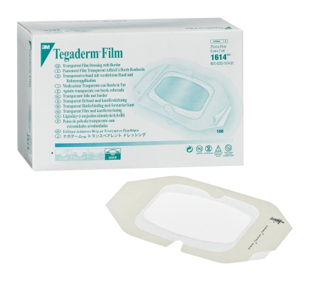 3M Tegaderm Transparent Adhesive Film Dressing ''4 X 10 , Waterproof, Frame Style, Sterile, 1 Count'' 2 Pack