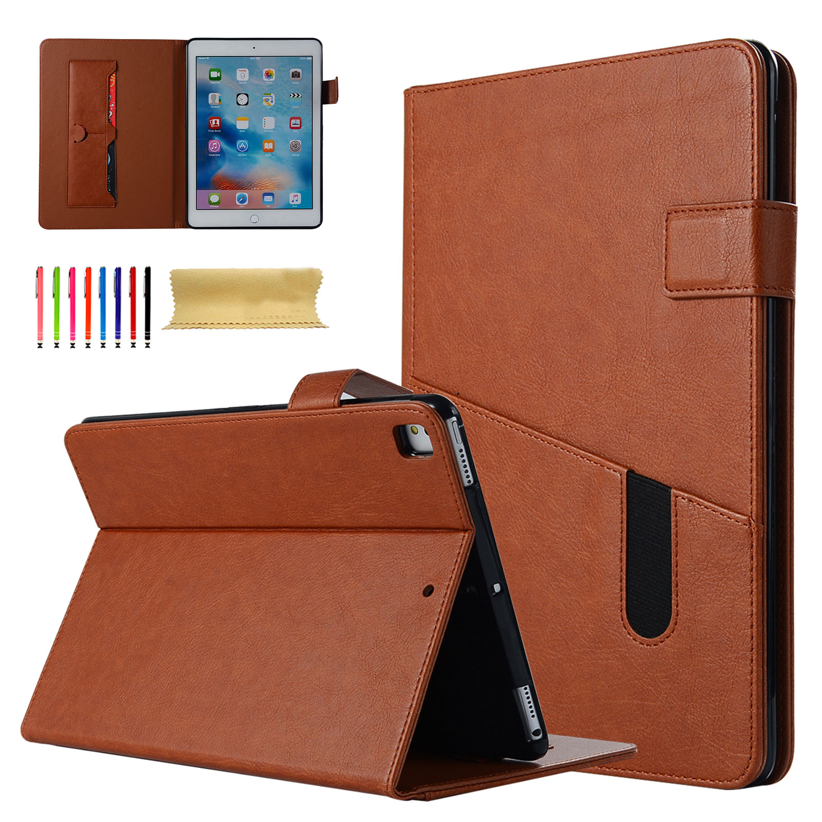 Goodest iPad 9.7 2018/2017, iPad Air 2, iPad Air Case, iPad Pro 9.7 Case Vintage Corner Protection Folio Stand Smart Shell Auto Sleep Wake with Document Pocket PU Leather Slim Fit Cover, Brown