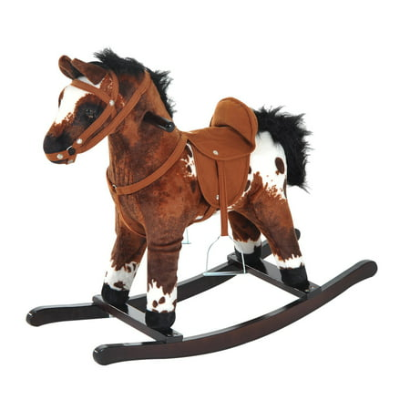 Qaba Kids Plush Ride-On Rocking Horse Chair Toy With Realistic Sounds - Dark Brown/White Rocking Horse Sounds