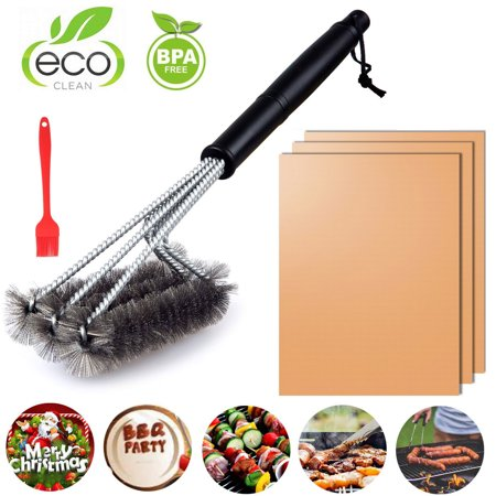 Copper Grill Mats Set of 3 Non-Stick Reusable + 18