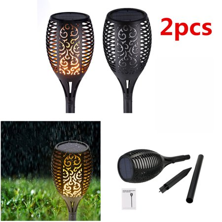 2Pcs Waterproof Flickering Flames Torches Lights Outdoor Solar Spotlights Landscape Decoration Lighting Dusk to Dawn Auto On/Off Security Torch Light for Patio Driveway ()