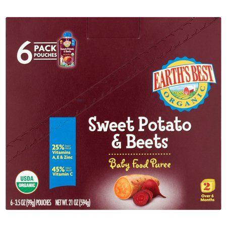Earths Best Puree Organic Sweet Potato   Beets 3 5Oz   Stage 2 Baby Food  Pack Of 6