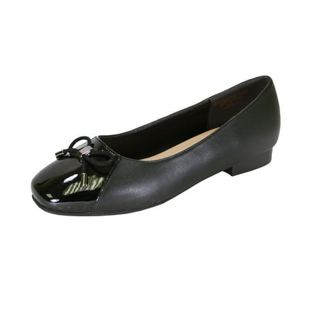 PEERAGE Jayden Women Wide Width Leather Dress Flat Pump with Glossy Patent PU Square Toe Cap and Bow BLACK 10.5