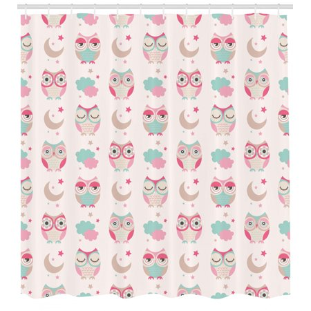 Owls Home Decor Shower Curtain Set, Owls Stars Moon Patterns In Feminine Soft Colors Symmetric Design Artwork, Bathroom Accessories, 69W X 70L Inches, By Ambesonne ()