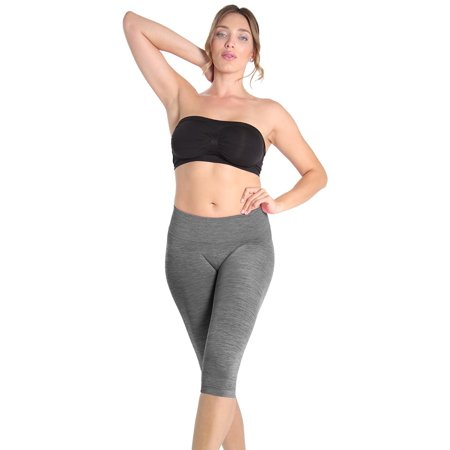 f6a0352e6eaf MeMoi - SlimMe High Waist Tummy Control Capri Shaper   Shapewear by SlimMe  Medium / Black Spacedye Shapewear - Walmart.com