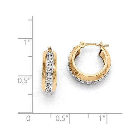 14k Yellow Gold Diamond Fascination Round Huggy Hinged Hoop (5x16mm) Earrings - image 2 of 3
