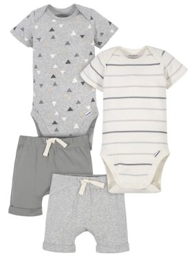 Modern Moments by Gerber Baby Boy Onesies Bodysuits and Shorts Set, 4-Piece