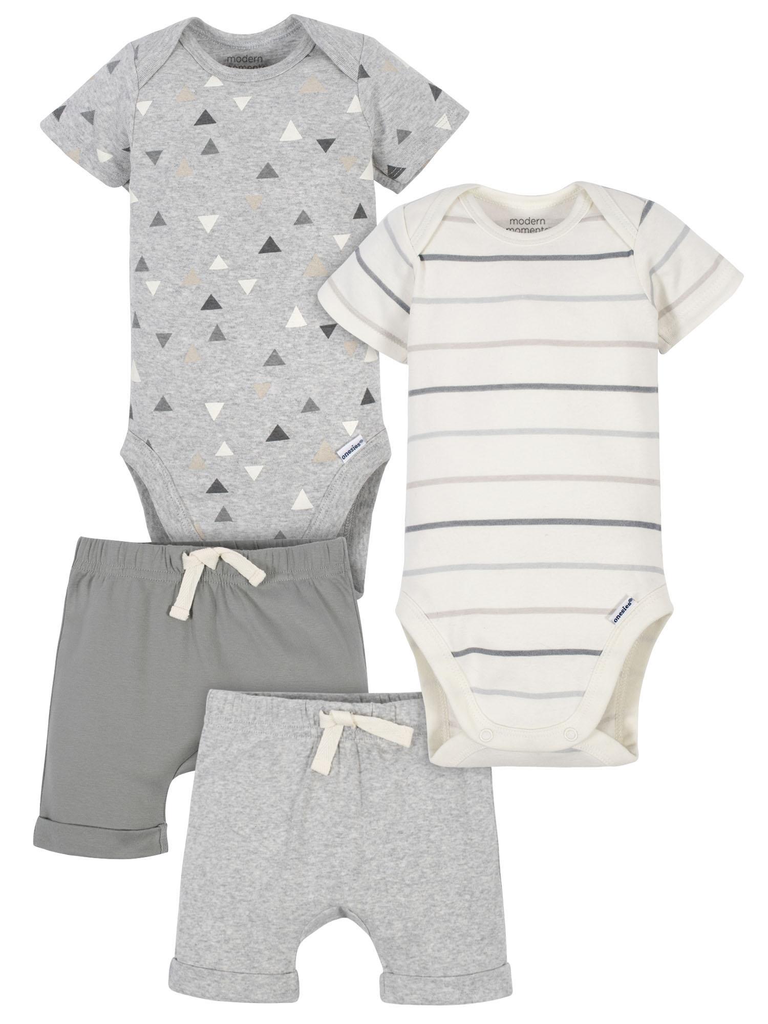 Gold and white  Baby Boy 4piece onesie setww