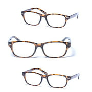 """3 Pair of """"The Intellect"""" Unisex Reading Glasses - Microfiber Soft Pouches Included"""