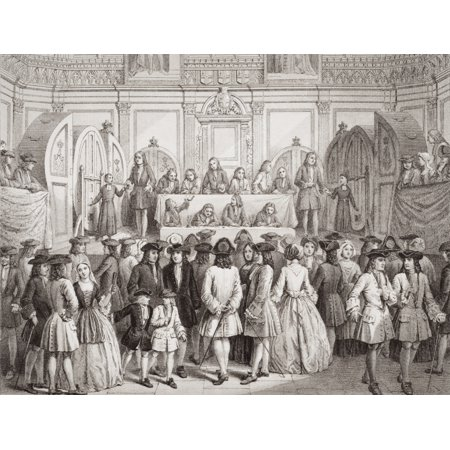 Drawing A Lottery In Guildhall London 1739 Engraved By Jj Crew From A Rare Contemporary Engraving From The Book Illustrations Of English And Scottish History Volume Ii Canvas Art   Ken Welsh  Design P