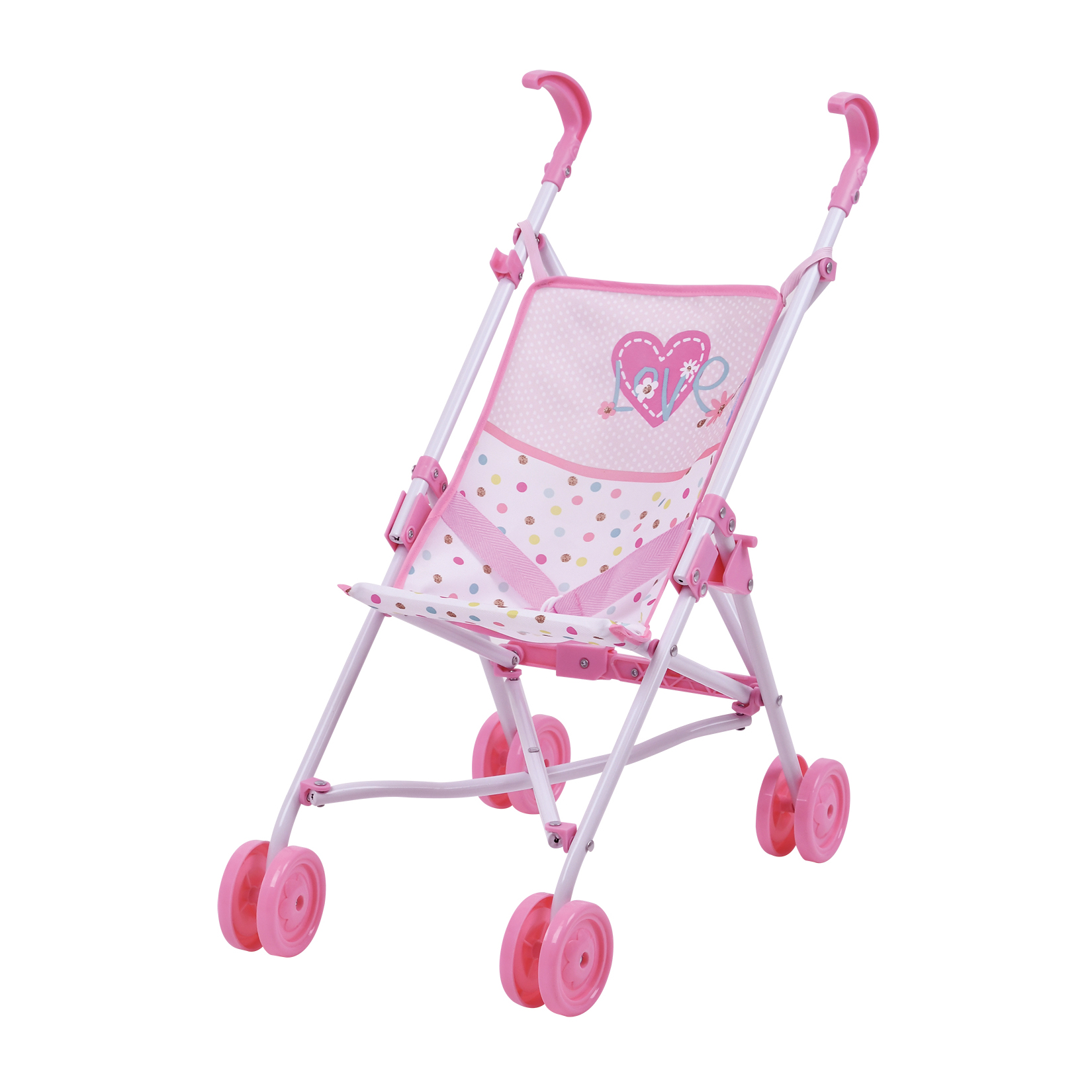 Black Handles and Hot Pink Frame 0128A Precious Toys Hot Pink Umbrella Doll Stroller
