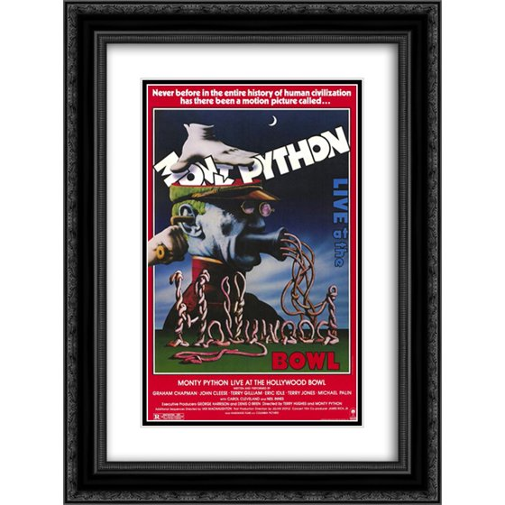 Monty Python Live at the Hollywood Bowl 18x24 Double Matted Black Ornate  Framed Movie Poster Art Print