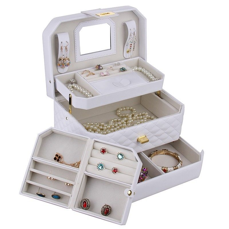 jewelry earring ring display organizer box vintage tray holder storage case 223