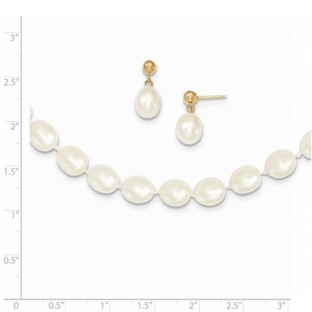 a10a29490 14k Yellow Gold 8mm Semi Round Freshwater Cultured Pearl 18 In. Chain  Necklace Post Stud Earrings Set Pendant Charm Drop Dangle Fine Jewelry  Gifts For Women ...