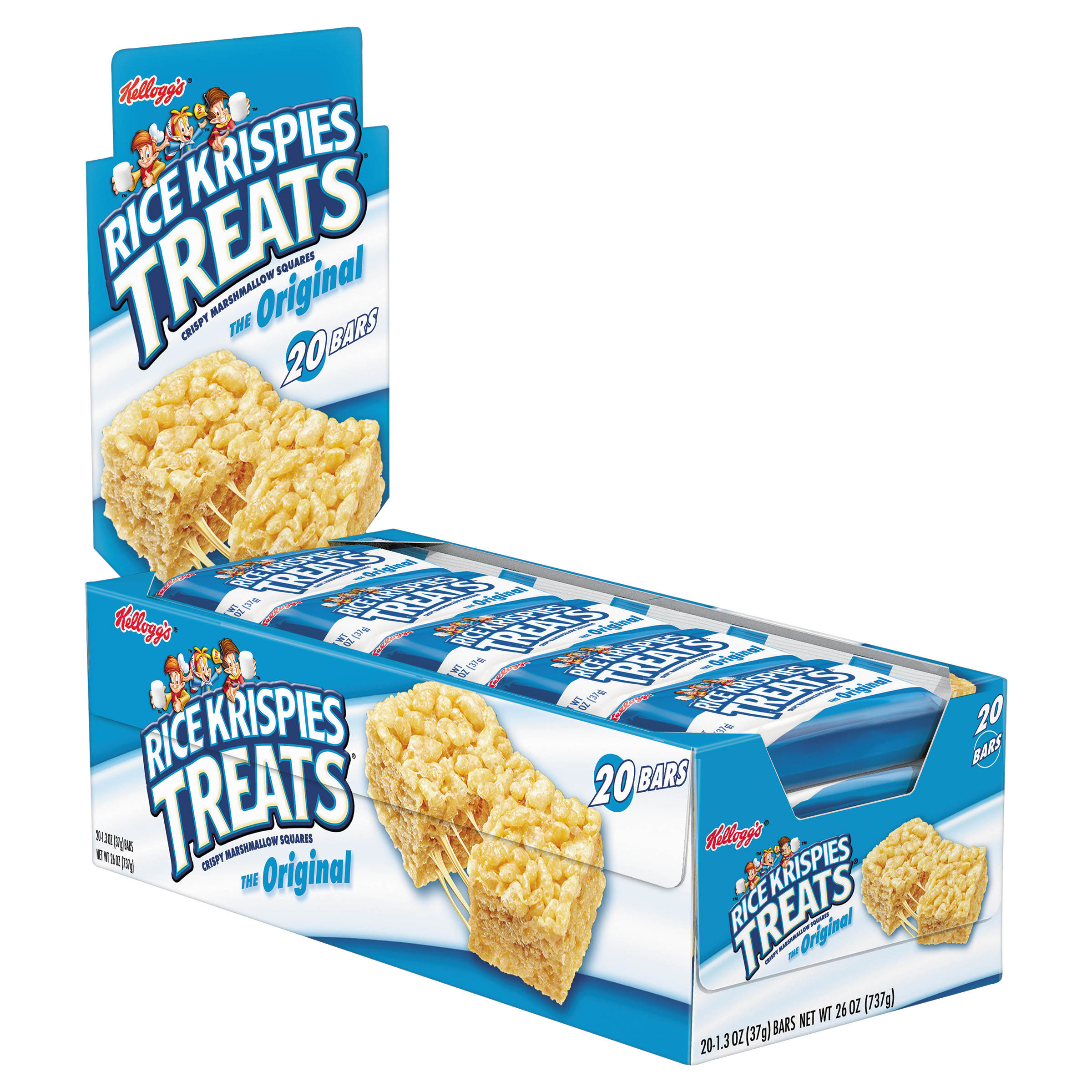 Kellogg's Rice Krispies Treats Original Marshmallow Bars, 1.3 oz 20 Ct (Single Serve Pks)