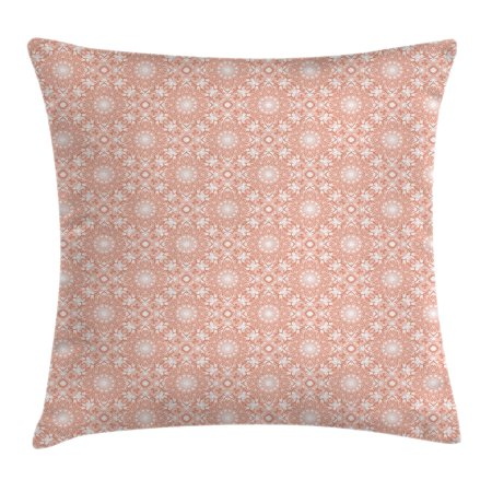 Coral Throw Pillow Cushion Cover Artistic Flourish Embroidery