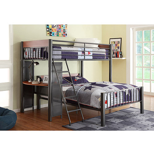 Division Twin over Full Metal Loft Bed, Light Graphite
