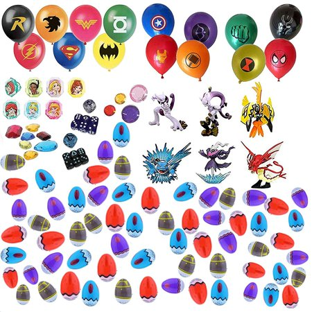 Playoly Party Favor Supplies - 60 Pokemon Theme 2.25'' Print Plastic Easter Egg with Assorted Figurine, Super Hero Balloons, Dice, Gem Accessories and More - Ready To Fill Plastic - Superhero Themed Wedding