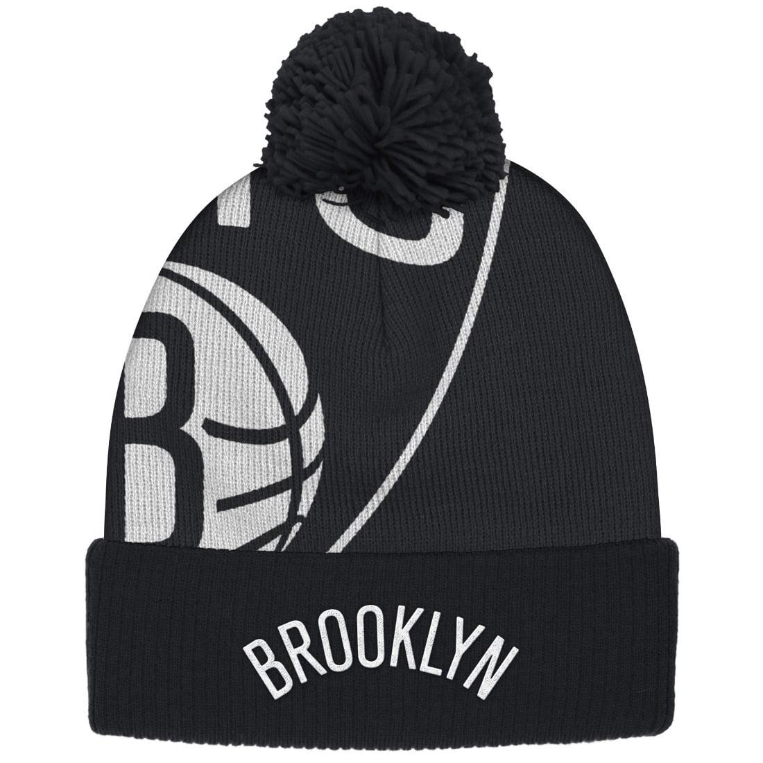 """Brooklyn Nets Adidas NBA """"Team Nation""""Cuffed Knit Hat with Pom by Adidas"""