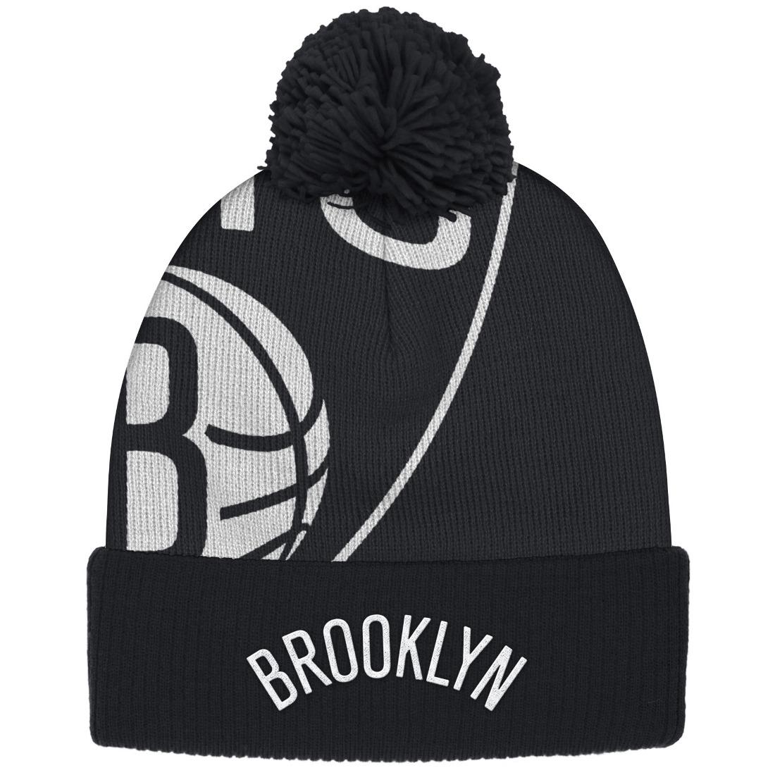 """Brooklyn Nets Adidas NBA """"Team Nation""""Cuffed Knit Hat with Pom"""