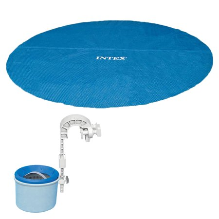 Intex 18 Foot Solar Vinyl Pool Cover and Wall Mounted Automatic Surface Skimmer Automatic Solar Pool Covers
