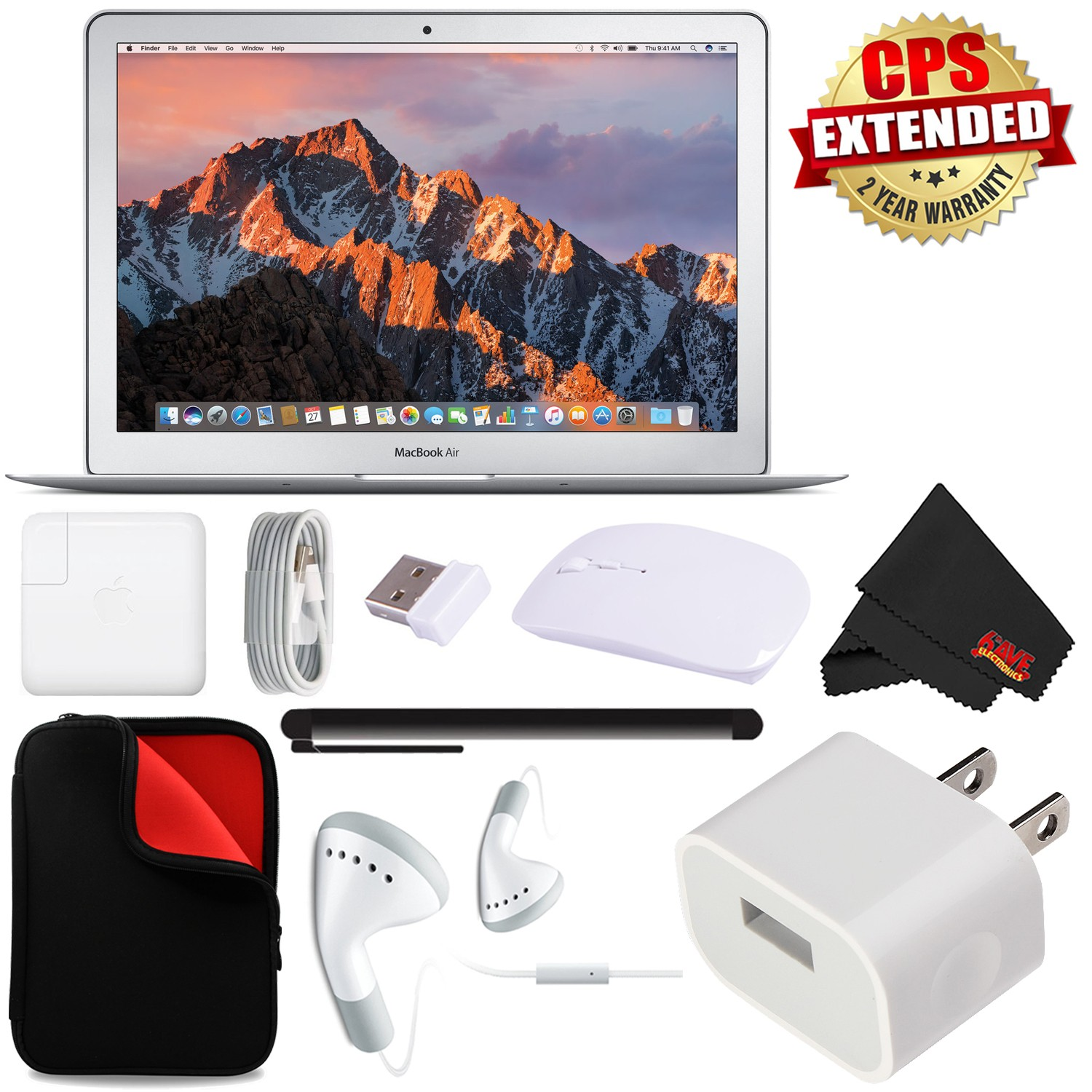 """Apple 13.3"""" MacBook Air 256GB SSD MQD42LL/A + MicroFiber Cloth + 2.4 GHz Slim Optical Wireless Bluetooth + Travel USB 5V Wall Charger for iPhone/iPad (White) + Universal Stylus for Tablets Bundle"""