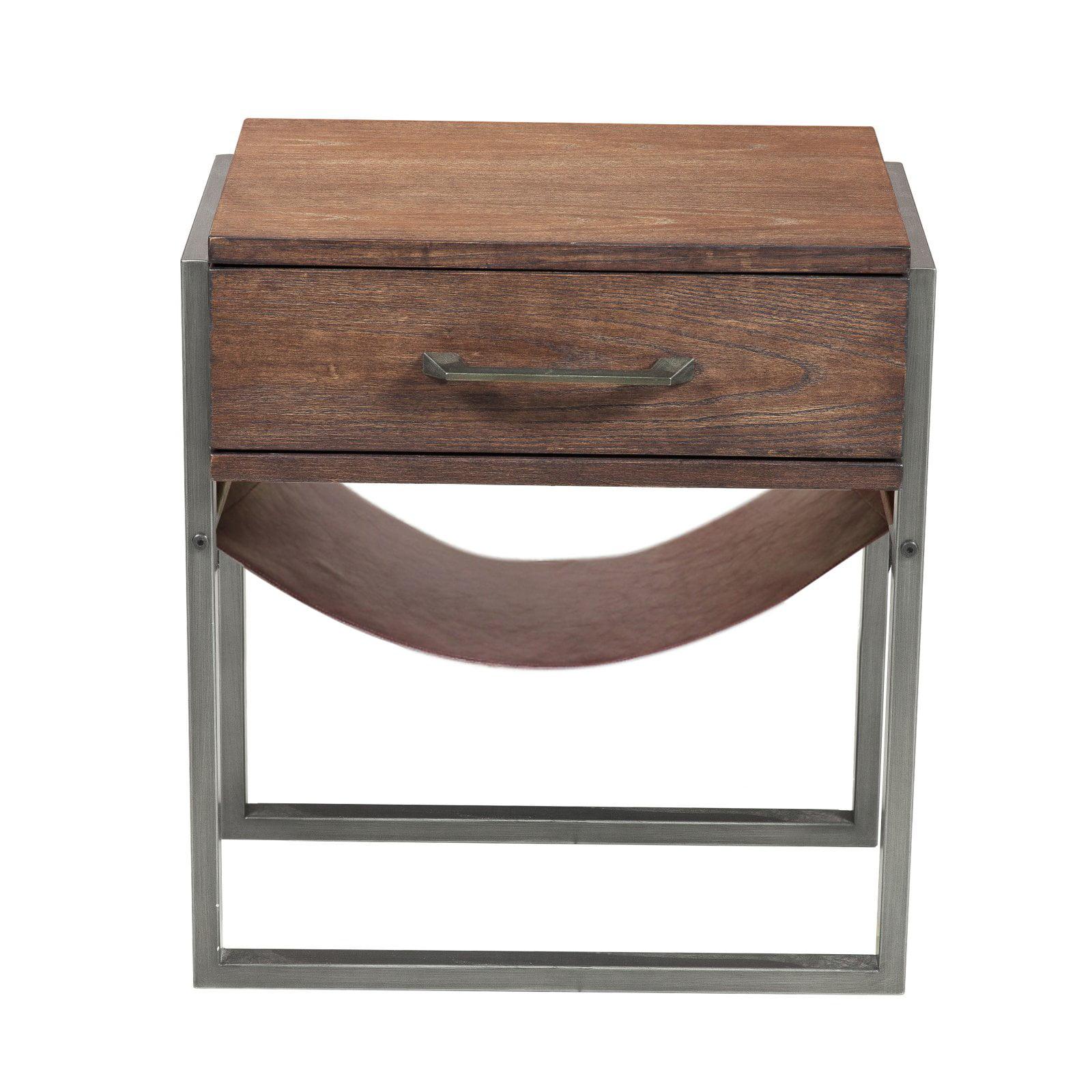 Industrial style acacia wood side table walmart com