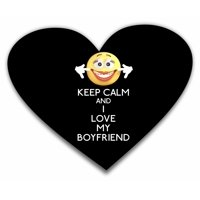 Keep Calm and I Love My Boyfriend - Heart Shape Mouse Pad - Love/ Valentine's Day Gift