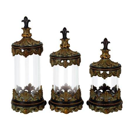 French set of 3 glass canister jars bronze fleur de lis kitchen decor 43169 - Fleur de lis canisters ...