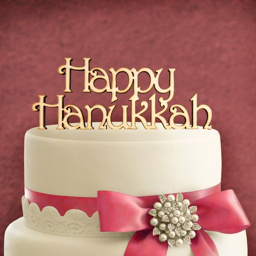aMonogram Art Unlimited Happy Hanukkah Wooden Cake Topper