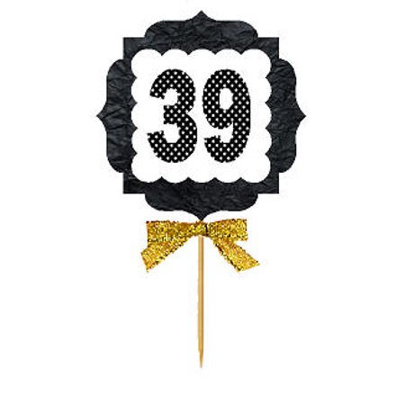 39th Birthday / Anniversary Gold Ribbon Hand Crafted Novelty Cupcake Decoration Toppers / Picks (Anniversary Cupcake)
