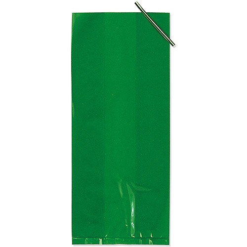 Paper Art 20-Pack Cellophane Treat Bags, Green