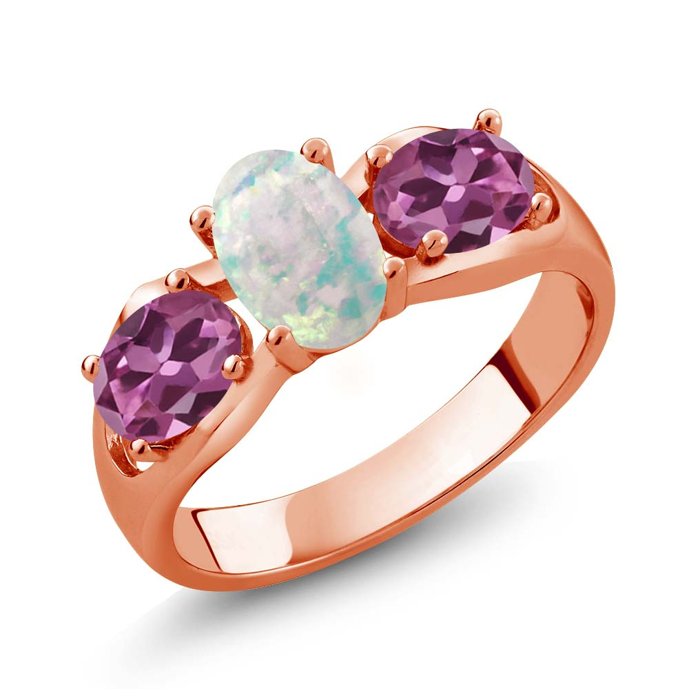1.63 Ct Oval Cabochon White Simulated Opal Pink Tourmaline 18K Rose Gold Ring by