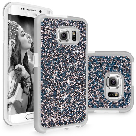 (Galaxy S6 Edge Plus case, Cellularvilla Luxury Bling Jewel Rock Crystal Rhinestone Diamond Case [Shockproof] Dual Layer Protective Cover for Samsung Galaxy S6 Edge Plus / S6 Edge+)