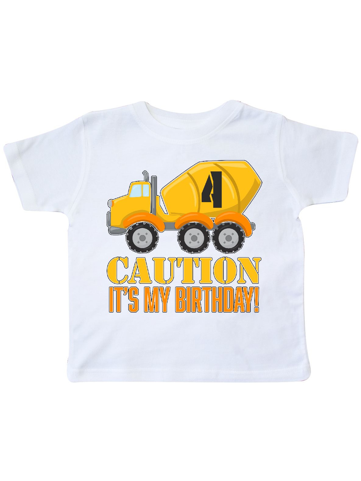 4th birthday construction, cement mixer -four  years old Toddler T-Shirt