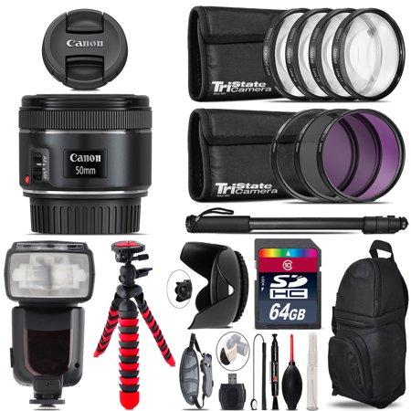 Canon EF 50mm f/1.8 STM Lens + Professional Flash & More - 64GB Accessory Kit ()