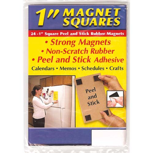 Craft and Hobby Square Rubber Peel and Stick Magnets 1 Inch (24)