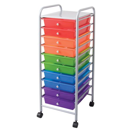 10 Drawer Rolling Multi-Color Organizer, 1 Each