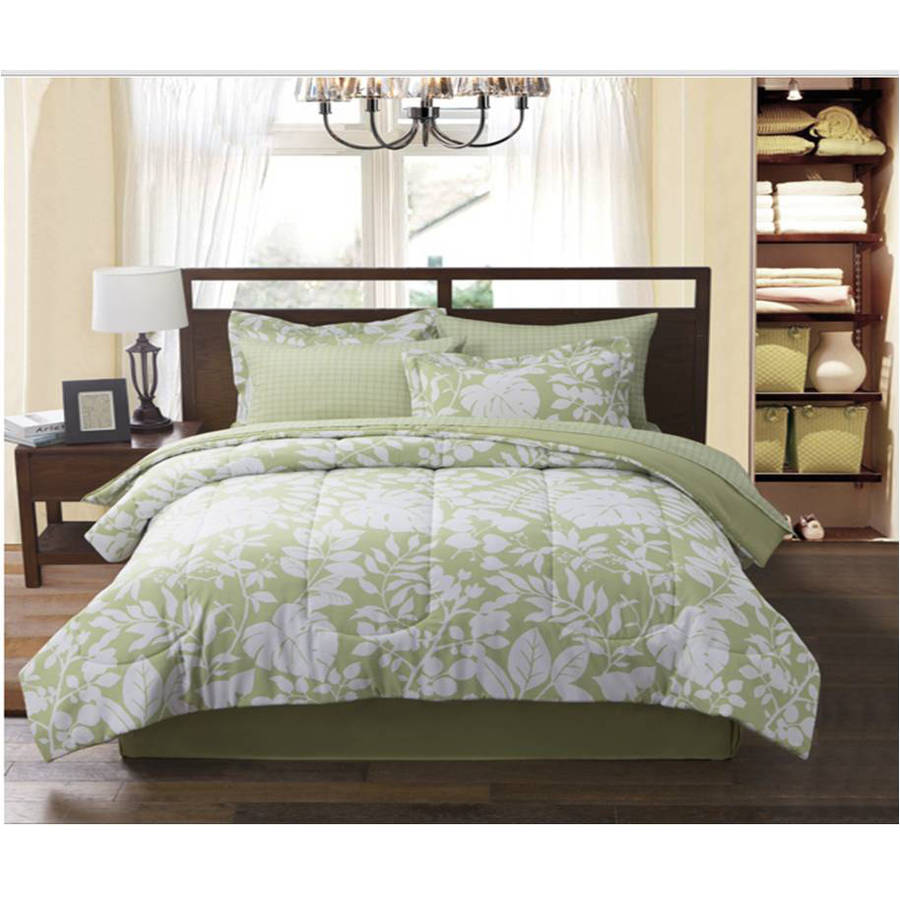 Botanical Leaf Reversible Complete Bed in Bag Bedding Set