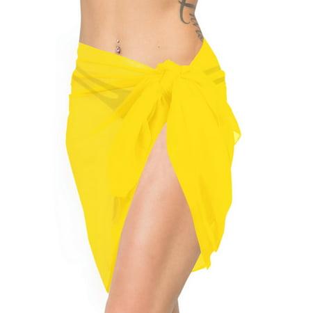1b06a7ef30 HAPPY BAY Beach Wrap Short Sarong cover up Women's Half swimwear Chiffon  Solid Yellow