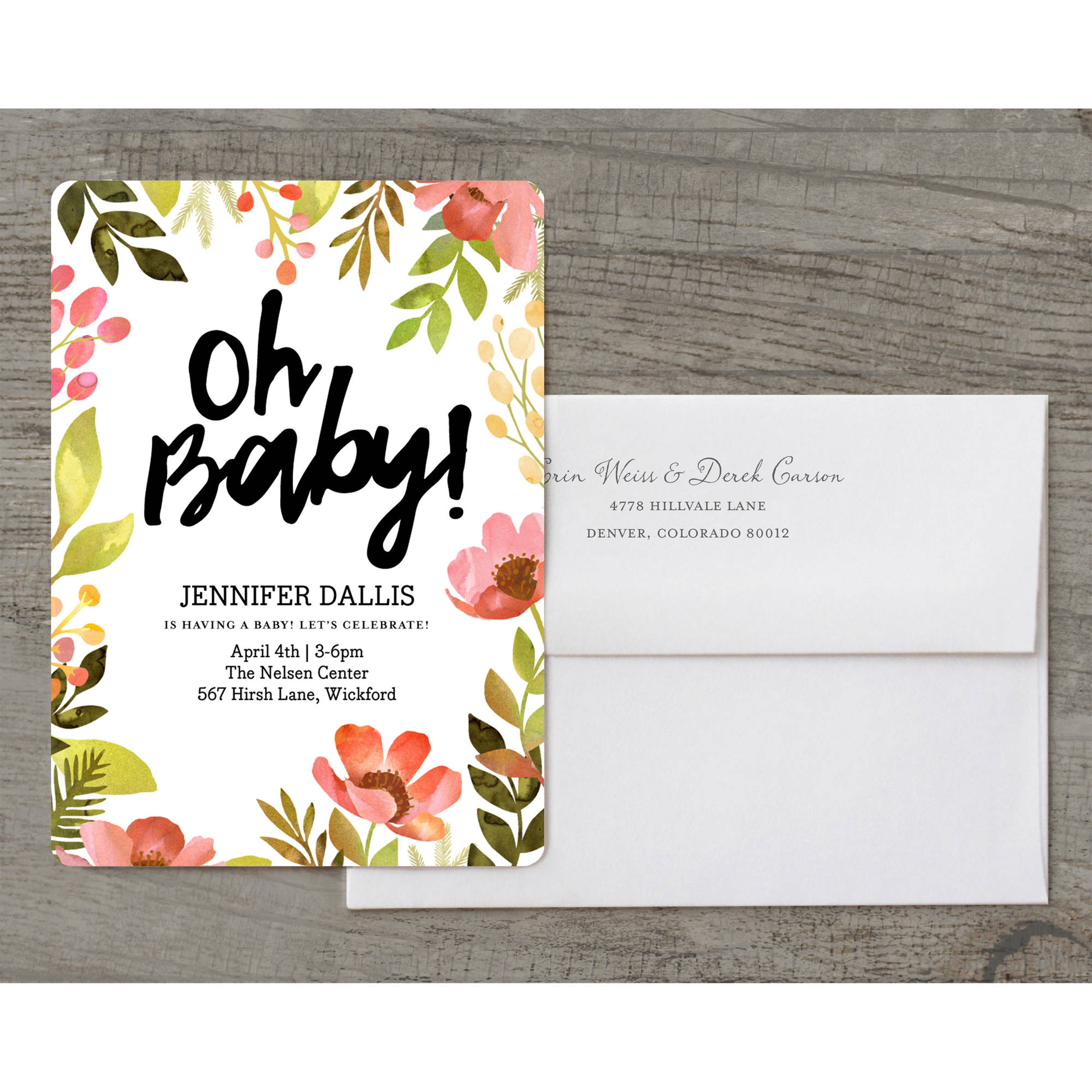 Bright Floral Deluxe Baby Invitation
