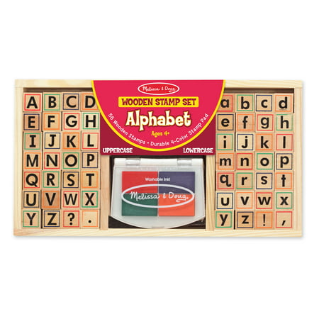 Melissa & Doug Wooden Alphabet Stamp Set - 56 Stamps With Lower-Case and Capital