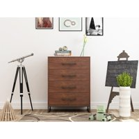 Mainstays Metal and Wood 4 Drawer Chest, Reclaimed Cherry Finish