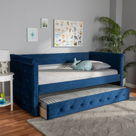 Baxton Studio Amaya Modern and Contemporary Navy Blue Velvet Fabric Upholstered Twin Size Daybed with Trundle ()