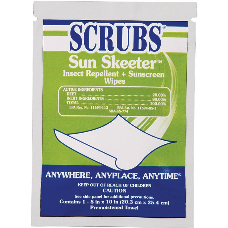 SCRUBS Sun Skeeter Insect Repellent & Sunscreen Wipes, 100 count