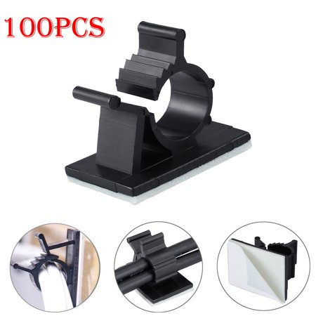- ESYNIC 100pcs cable clamps Self-Adhesive Wire Cable Tie Clamp Sticker Clip Holder Fixer 10mm Dia Adjustable Wire Holder Cable Organizer Cord Management for Car Home Office